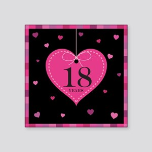 "18th Anniversary Heart Square Sticker 3"" x 3"""