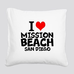 I Love Mission Beach, San Diego Square Canvas Pill