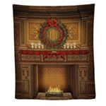 Christmas Fireplace Wall Tapestry