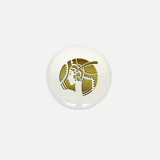 Golden Art Deco Lady Mini Button