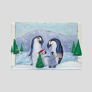 Penguin Family Rectangle Magnet (10 pack)
