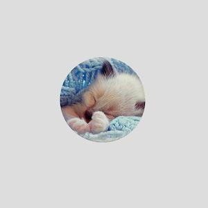 Sleeping Siamese Kitten Paws Mini Button