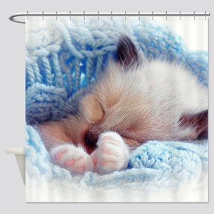 Sleeping Siamese Kitten Paws Shower Curtain