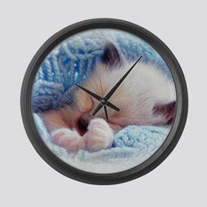 Sleeping Siamese Kitten Paws Large Wall Clock