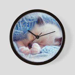 Sleeping Siamese Kitten Paws Wall Clock
