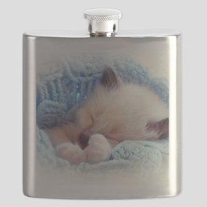 Sleeping Siamese Kitten Paws Flask