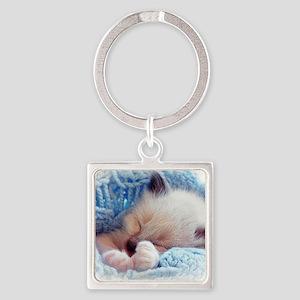 Sleeping Siamese Kitten Paws Square Keychain