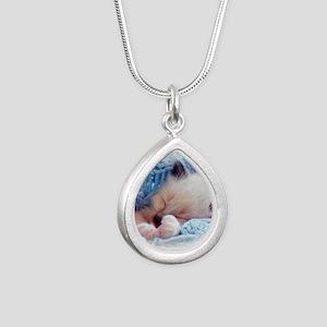 Sleeping Siamese Kitten Paws Silver Teardrop Neckl