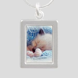 Sleeping Siamese Kitten Paws Silver Portrait Neckl