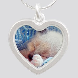 Sleeping Siamese Kitten Paws Silver Heart Necklace