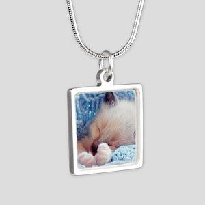 Sleeping Siamese Kitten Paws Silver Square Necklac