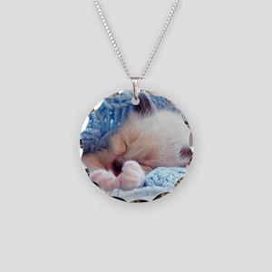 Sleeping Siamese Kitten Paws Necklace
