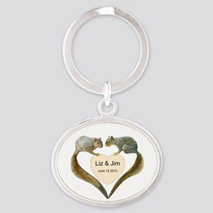 Love Squirrels Oval Keychain