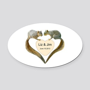 Love Squirrels Oval Car Magnet
