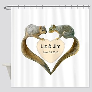 Love Squirrels Shower Curtain