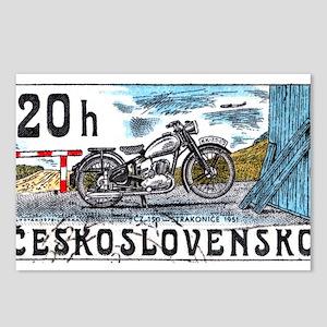 1975 Czechoslovakia Motorcycle Postage Stamp Postc