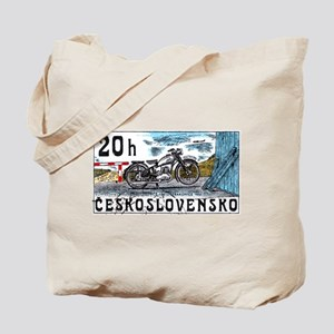 1975 Czechoslovakia Motorcycle Postage Stamp Tote