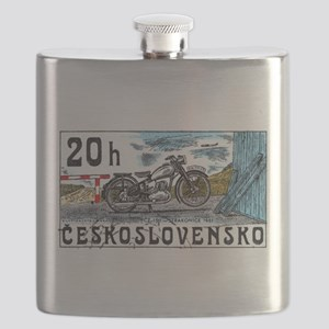 1975 Czechoslovakia Motorcycle Postage Stamp Flask
