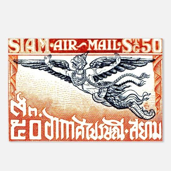 Antique Thailand 1925 Garuda Postage Stamp Postcar