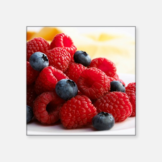 Blueberries and raspberries - Square Sticker 3