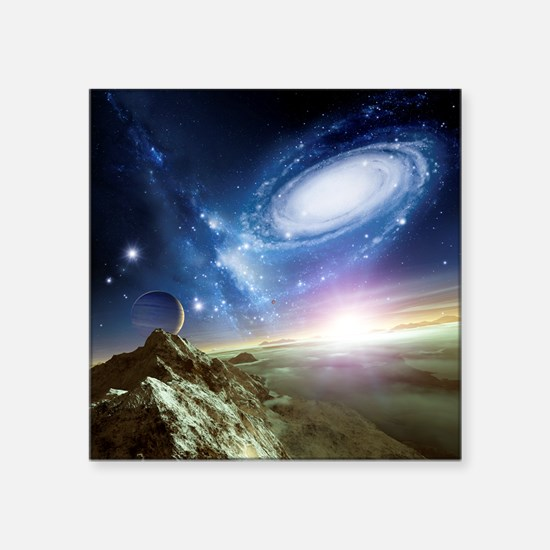 Colliding galaxies, artwork - Square Sticker 3
