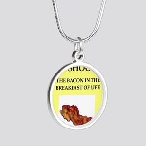 trap shooting Silver Round Necklace