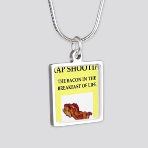 trap shooting Silver Square Necklace