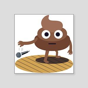 "Emoji Poop Mic Drop Square Sticker 3"" x 3"""