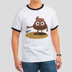 Emoji Poop Mic Drop Ringer T