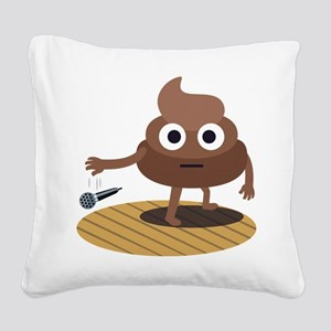 Emoji Poop Mic Drop Square Canvas Pillow