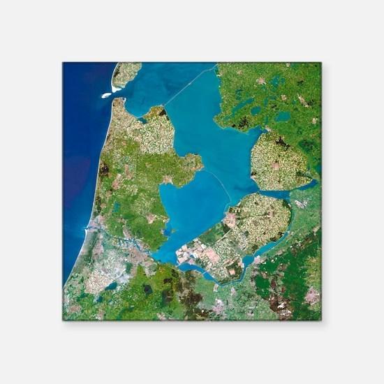Polders, satellite image - Square Sticker 3