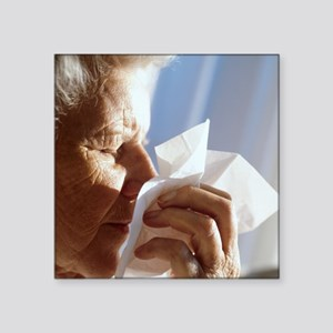 Elderly woman sneezing - Square Sticker 3