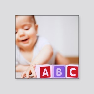 Baby boy playing - Square Sticker 3