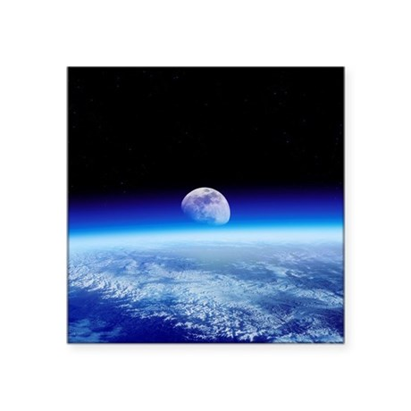 Moon rising over Earth's horizon - Square Sticker