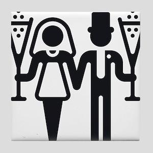 Bridal Pair With Sparkling Wine (Wedding) Tile Coa