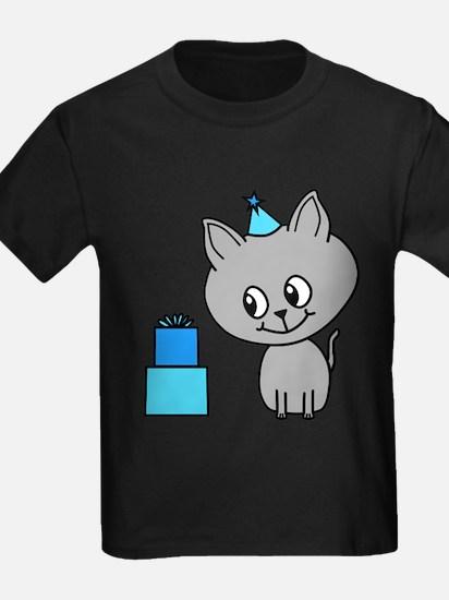 Gray Cat, Birthday. T-Shirt