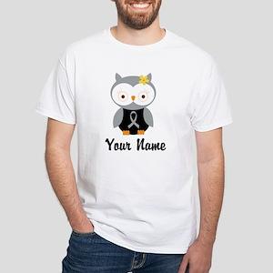 Personalized Gray Ribbon Owl White T-Shirt