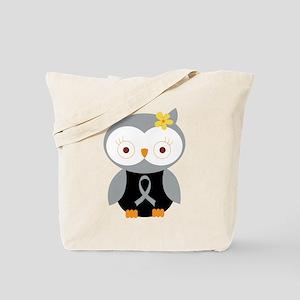 Gray Ribbon Awareness Owl Tote Bag