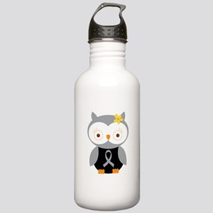 Gray Ribbon Awareness Owl Stainless Water Bottle 1