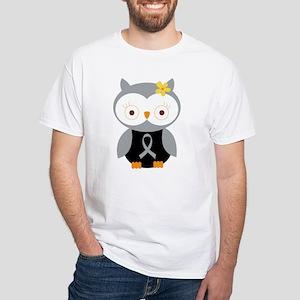 Gray Ribbon Awareness Owl White T-Shirt