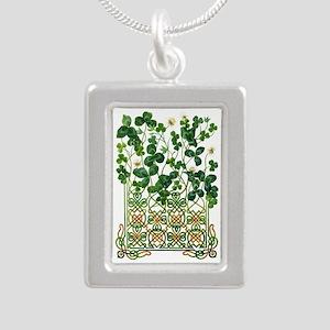 Celtic Shamrock Silver Portrait Necklace
