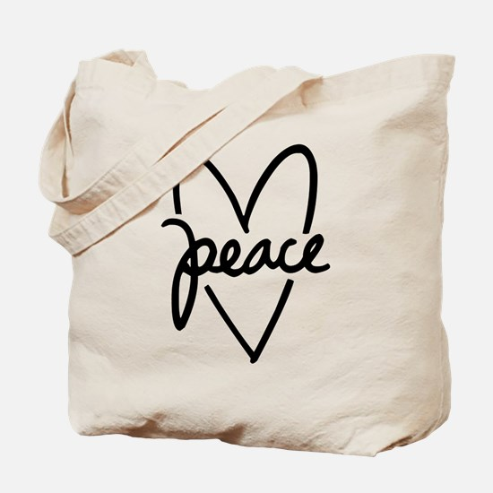 Peace Heart Tote Bag