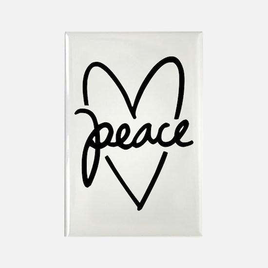 Peace Heart Rectangle Magnet