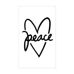 Peace Heart Sticker (Rectangle)
