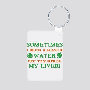 Funny Liver Beer Designs Aluminum Photo Keychain