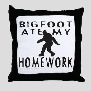 BIGFOOT ATE MY HOMEWORK Throw Pillow