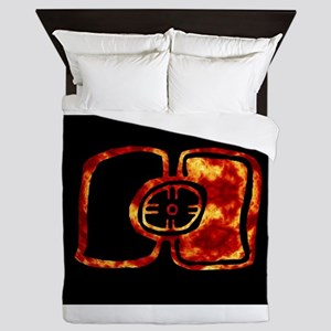 Fiery Inverted Ancient Maya Solar Ecli Queen Duvet