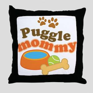 Puggle Mommy Dog Mom Throw Pillow