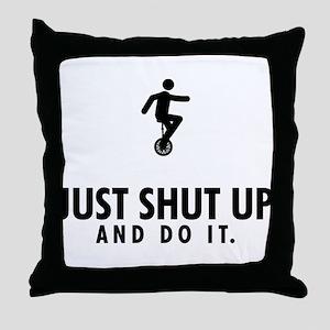 Unicycle Riding Throw Pillow