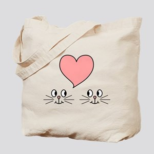 Cats and Love Heart. Tote Bag